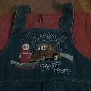 Disney Mater Overalls with attached t-shirt